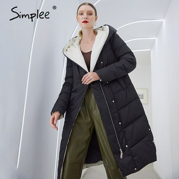 Simplee Fashion black hooded parkas coat women Warm cotton padded winter coats female Ladies office long puffer coat jackets 2020 pu leather parkas women fashion hooded faux leather coats women elegant zipper cotton jackets female ladies clothing c20