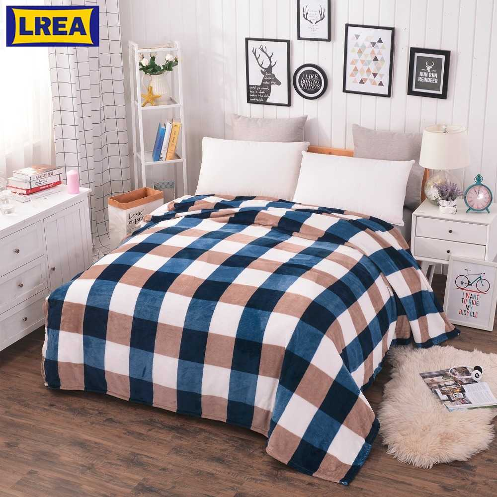 LREA home textile Coral Fleece blanket on the bed soft plaid warm winter sofa travel plaid bedspread