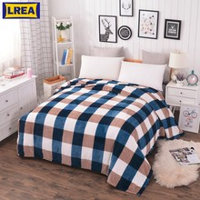 LREA home textile Coral Fleece blanket on the bed soft plaid warm winter sofa travel plaid bedspread(China)