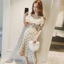 2019 Women Vintage Polka Dot Dress Button Up Puff Sleeve Square Collar High Waist Long Dress Summer Holiday Dress