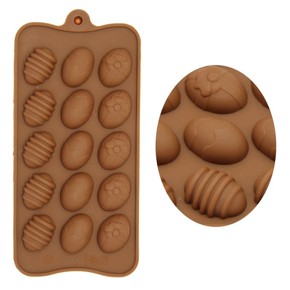 15 Holes Easter Eggs Chocolate Molds Silicone Form Cake Molds Bakeware Baking Dish High Temperature Kitchen Cake Accessories