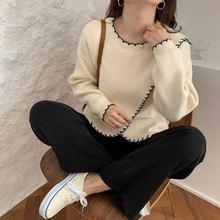 Женский вязаный свитер средней длины элегантный свободный в