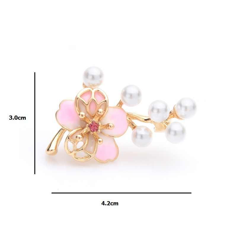 Wuli & Bayi Kecil Berwarna Merah Muda Bunga Bros Wanita Simulasi Mutiara Bunga Pernikahan Bros Kerah Pin Hadiah