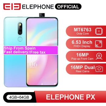 "ELEPHONE PX 4GB 64GB Smartphone MKT MT6763 6.53"" FHD+ Full Screen 16MP Dual Rear Cam Android 9.0 Pop-Up 16MP Cam Mobile Phone"