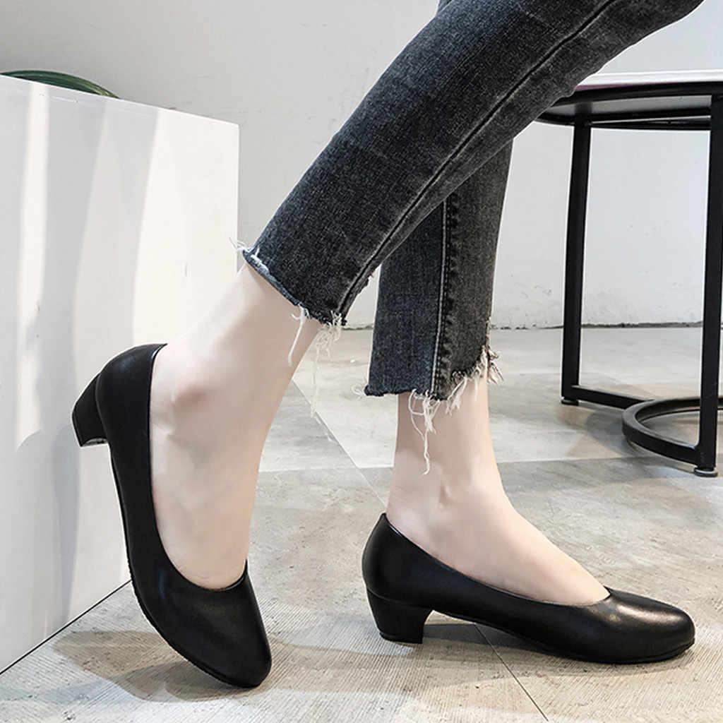 อาชีพรองเท้าส้นสูงรองเท้าผู้หญิงน้ำหนักเบารองเท้าสบาย PU หนังสีดำ Casual รองเท้าส้นสูงแฟชั่น Party รองเท้า