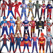Halloween Captain America Avengers  Costume Boy Superhero Spiderman Batman Superman Iron Man Jumpsuit child