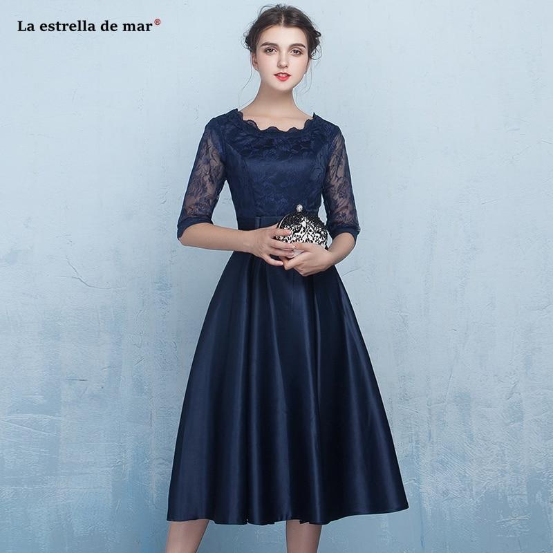 Vestidos fiesta boda new Scoop neck lace satin half sleeve A Line Navy blue   bridesmaid     dress   Tea Lengthsuknie na wesele Plus