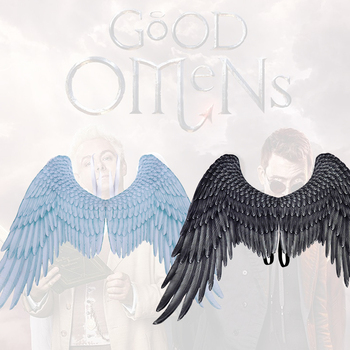 Good Omens Cosplay Wings Devil Crowley Black Wings Angel Aziraphale White Wings Role Play Party Armageddon Carnival Accessories фото