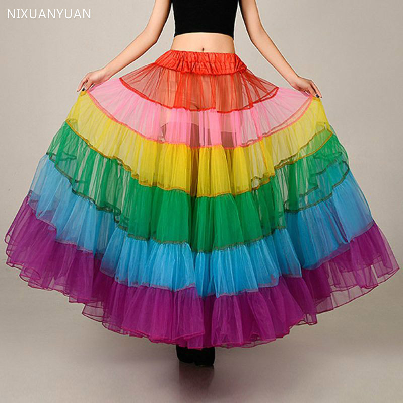 New Bride Boneless Wedding Dress Skirt Color Large Pendulum Dance Half-length Mesh Tutu Skirts Petticoat