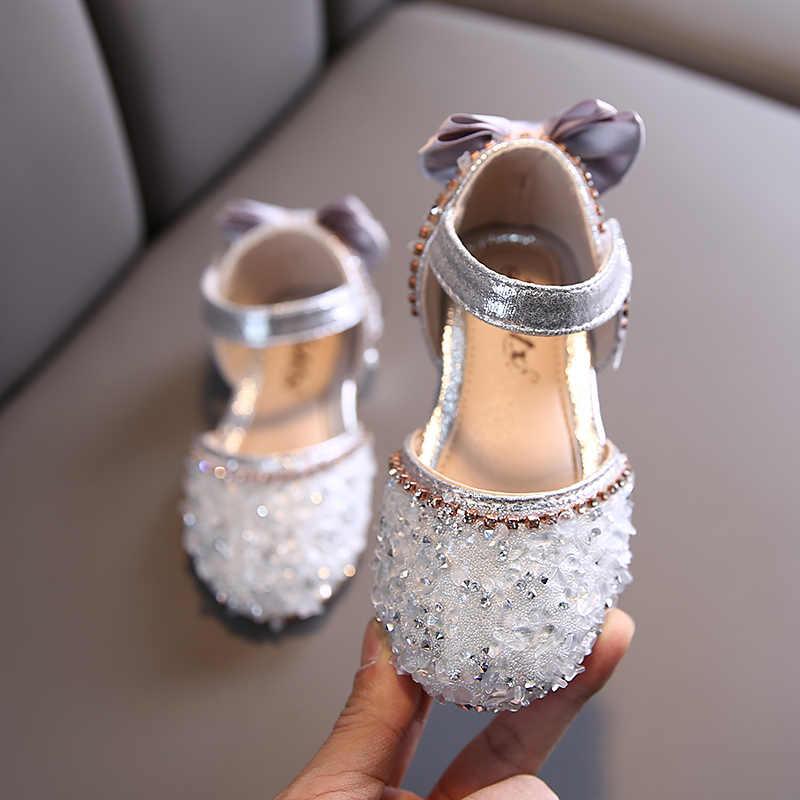 Mùa Xuân Giày Trẻ Em Bé Gái Cao Cấp Nàng Công Chúa Nhảy Múa Giày Sandal Trẻ Em Giày Lấp Lánh Da Thời Trang Bé Gái Đầm DỰ TIỆC CƯỚI Giày