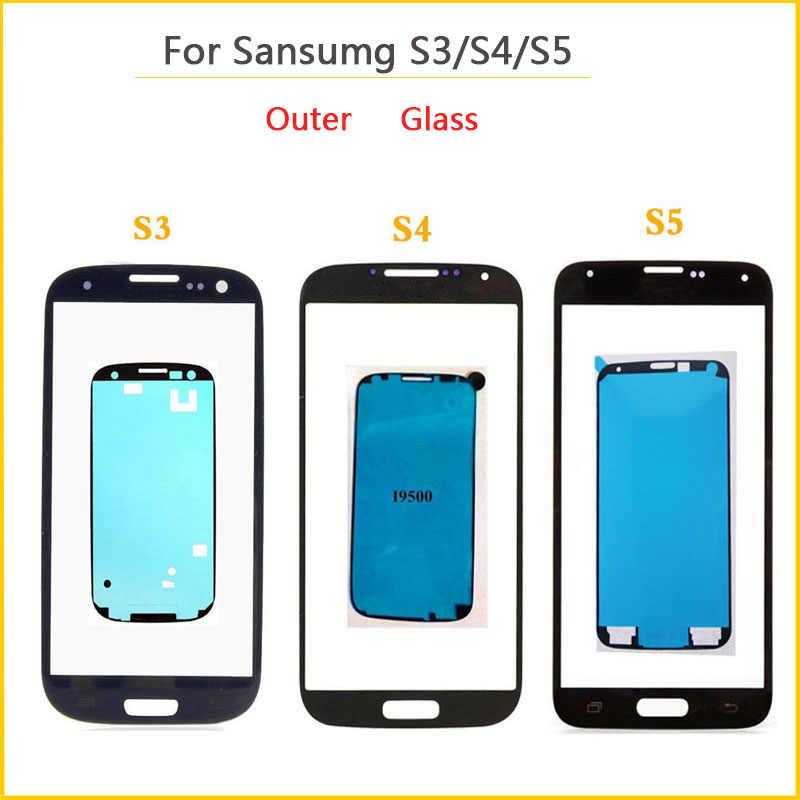 الزجاج الخارجي لسامسونج غالاكسي S3 i9300 i9305 i9300i i9301 i9301i S4 i9500 i9505 i337 S5 الجبهة لوحة عدسة شاشة الكريستال السائل + لاصق