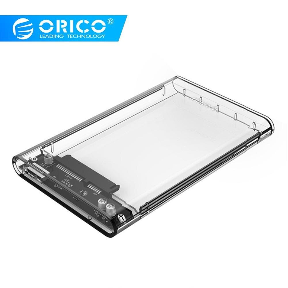 Carcasa de disco duro ORICO 2,5 transparente SATA a adaptador USB 3,0 carcasa de disco duro externo para 7mm/9,5mm SSD disco HDD UASP SATA III