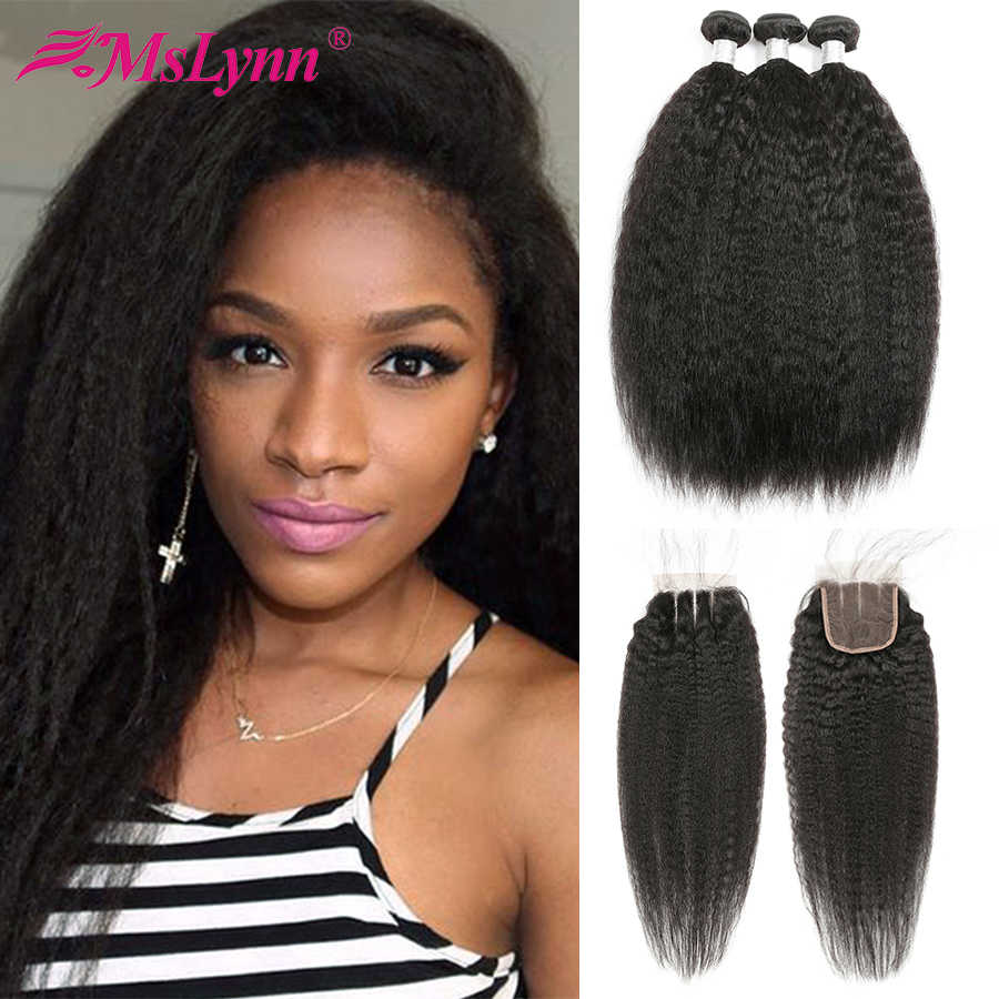 Kinky Straight Hair Bundles With Closure Brazilian Hair Weave Bundles With Closure Human Hair Bundle With Closure Remy Mslynn