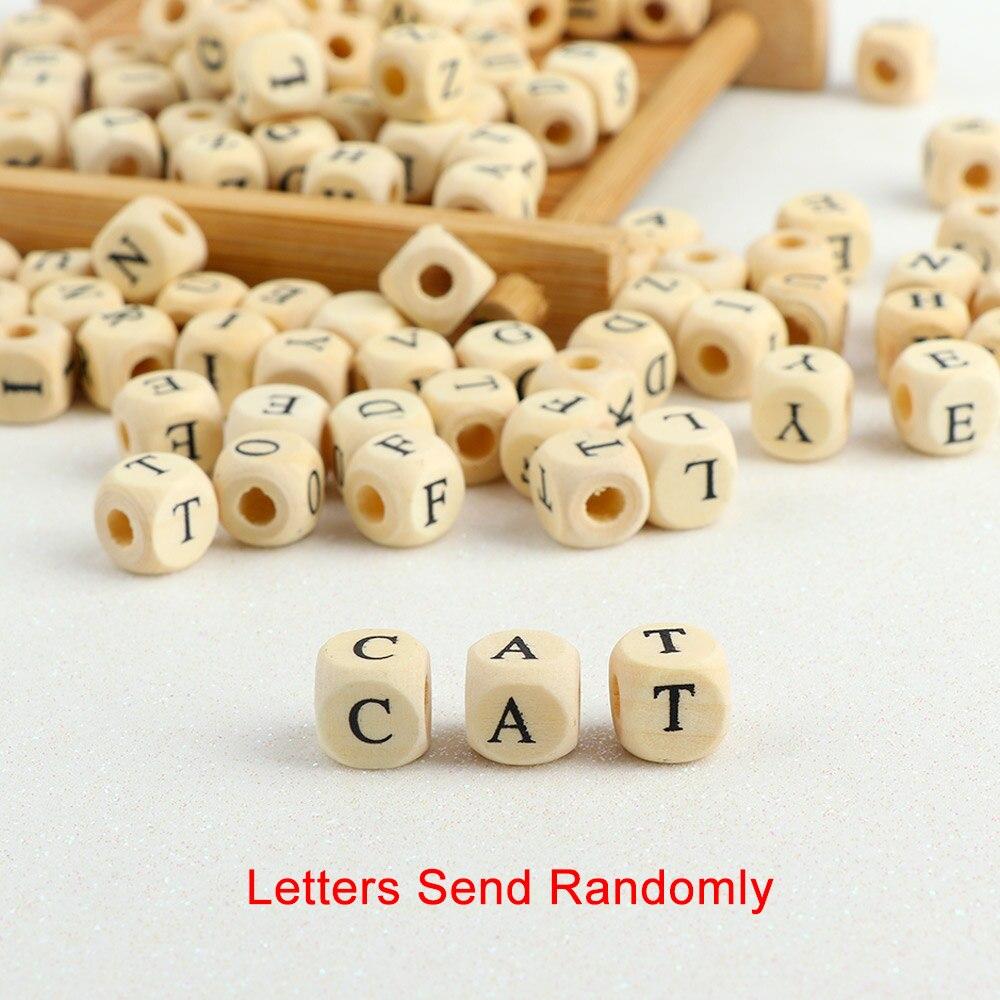 100 pçs/lote quadrado número da letra do alfabeto de madeira diy contas bebê mordedor suave para fazer jóias acessórios 10mm letras aleatórias