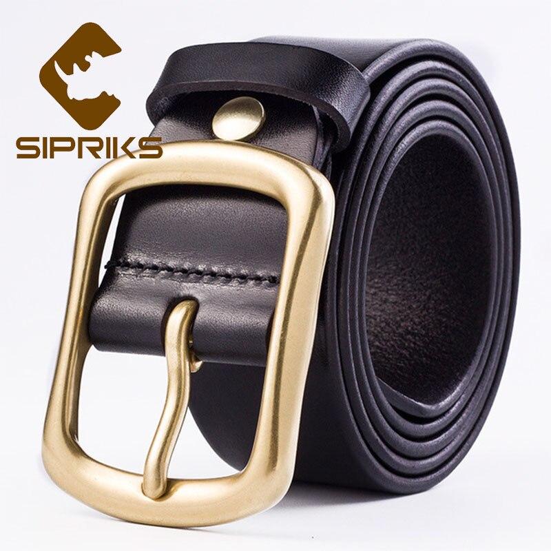 Sipriks ремни из натуральной кожи мужские Cowskin черный коричневый модный ремень мужские джинсы для мужчин ковбойский пояс медь 3,8 см 105 120 см - 3