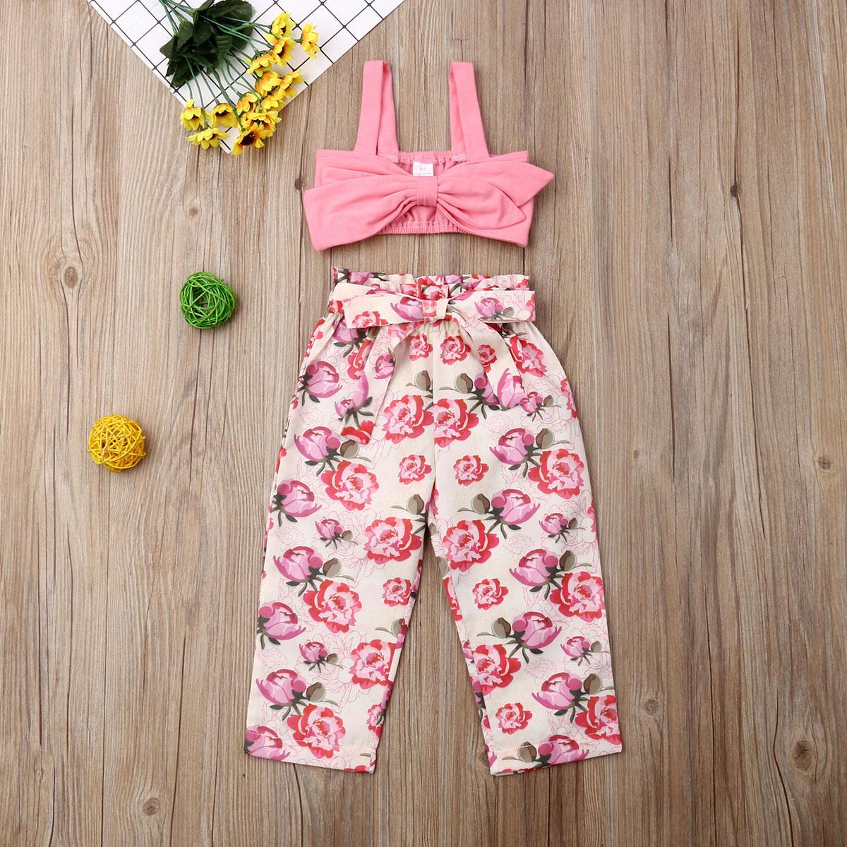 Pudcoco Toddler Baby Girl Clothes Solid Color Crop Vest Strap Tops Flower Print Long Pants 2Pcs Outfits Cotton Clothes