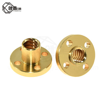 T8 Screw nut Brass 22mm Flange Nut For CNC 3D Printer Parts 8mm 4-Start Lead Screw 300mm long With Copper image