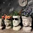 Cemento Vaso di Fiori Fioriere Testa Uomo Vintage Vaso Statua Decoartion Cortile Arredamento - 6