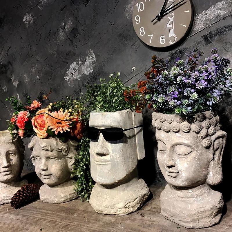 cement Flower Pot Planters Man Head Vintage Vase Statue Decoartion Courtyard Furnishing - 6