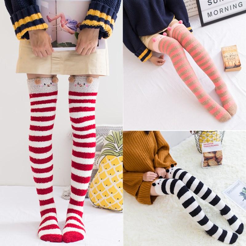 1Pair Harajuku Sweet Girls Thigh High Socks Cute Animal Striped Print Fleece Over Knee Socks Long Winter Warm Stockings Female
