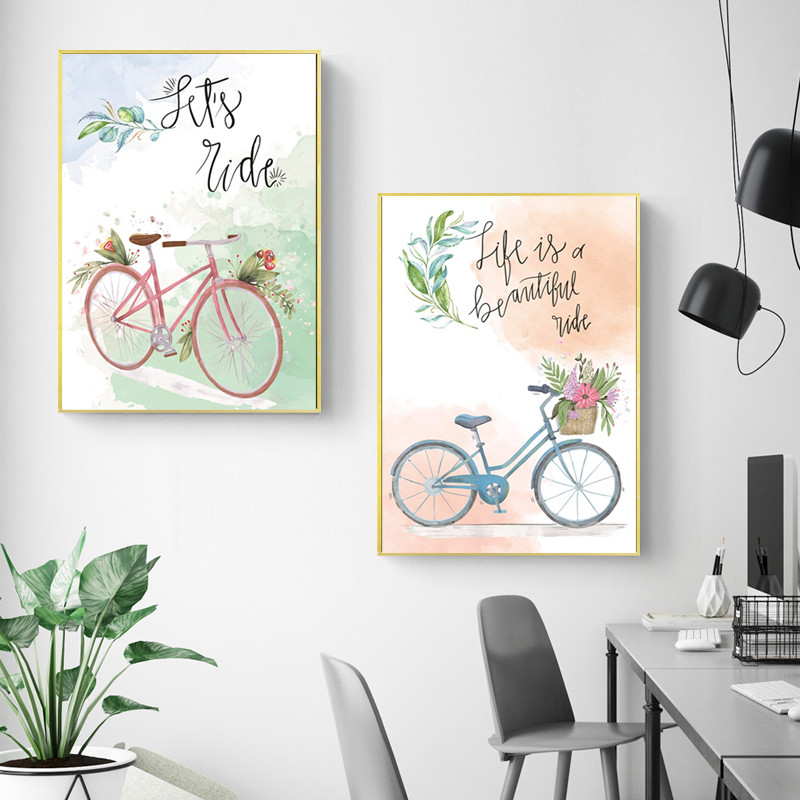 Letters-and-Bicycle-Home-Decoration-Canvas-Painting-Bedroom-Living-Room-Posters-Hd-Printing-Pictures-with-Waterproof (1)