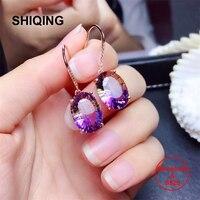 SHIQING Real Ametrine big gemstone 925 sterling silver bling earrings 10*14mm