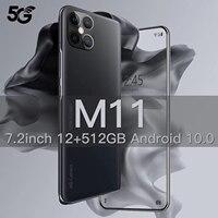 Xiomi M11 Smartphone Android 10 Smartphone 512GB 7.2 pollici sbloccato 5G 5000mAh versione globale