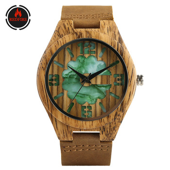 REDFIRE Wood Watch Men Jade Green Engraving Arabic Numbers Dial Wooden Mens Watches Quartz Genuine Leather Wristwatch reloj eco friendly green sandal wood watches mens quartz wooden watch with date
