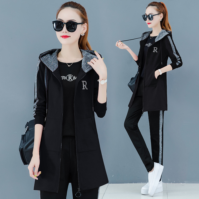 Sports WOMEN'S Suit Autumn 2019 New Style Casual Slimming Loose-Fit Korean-style Fashion Mid-length Hoodie Three-piece Set Fashi