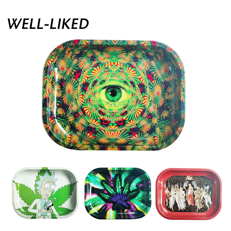 2020 Amazing Eye Rolling Tray Printed Tinplate Metal Rolling Tray Art Pattern Printed Tobacco Holder Accessories Wholesale Gifts
