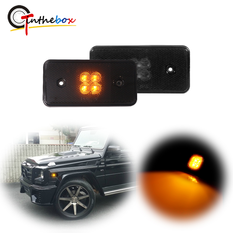 Gtinthebox Smoked Lens Amber Full LED Side Marker Light For 2002-14 Mercedes W463 G-Class G500 G550 <font><b>G55</b></font> G63 <font><b>AMG</b></font> Sidemarker Lamps image