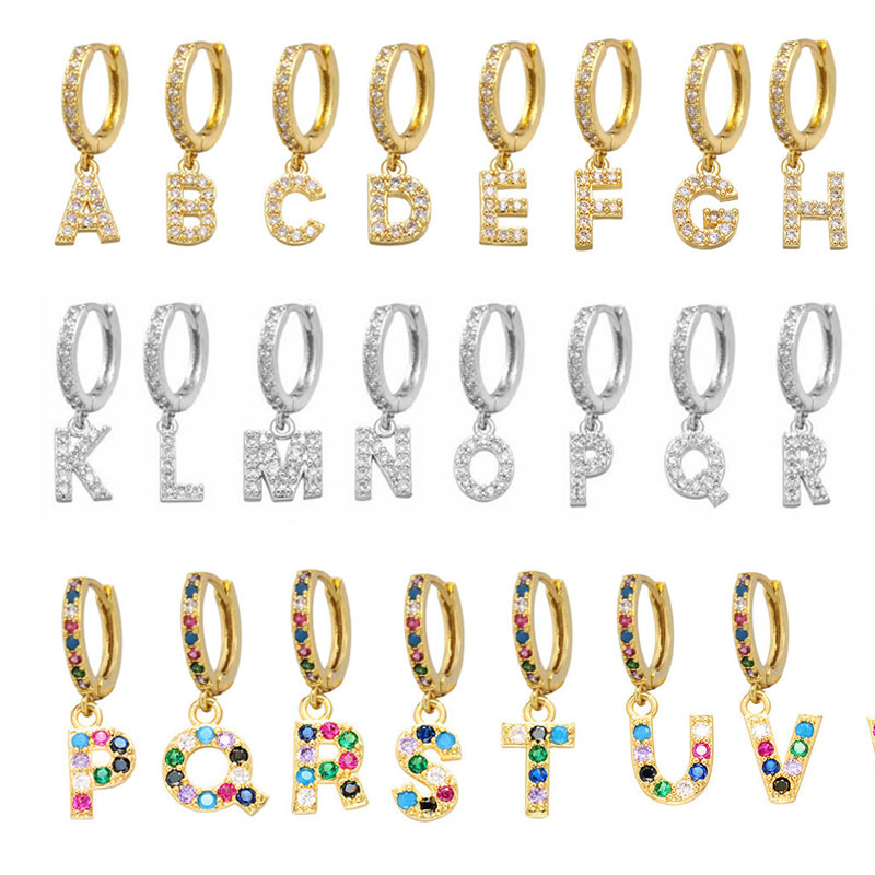 1 piece A-Z Letters Mini Small Hoop Earrings Women Gold Silver Color Rainbow Cubic Zirconia Jewelry Earring Aretes alphabet ABC