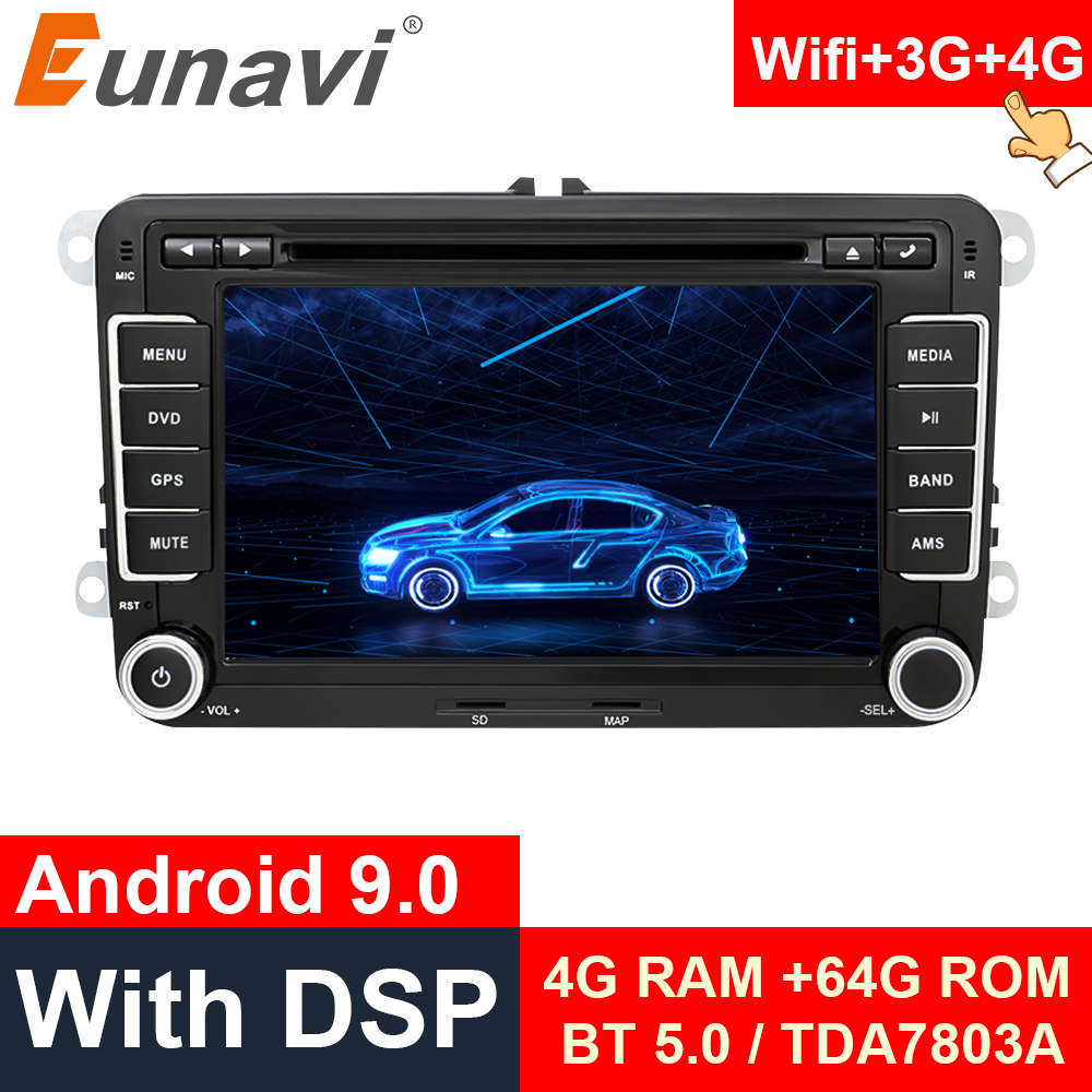 Eunavi 2 din 7'' Android 9.0 Car <font><b>Multimedia</b></font> Player For VW Skoda Polo Passat B6 CC Tiguan <font><b>Golf</b></font> 5 <font><b>6</b></font> Fabia 2din GPS 4G 64GB WIFI image