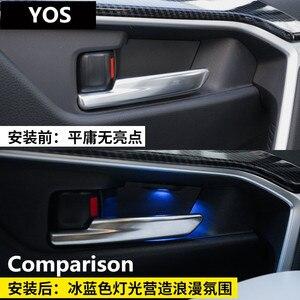 4 Uds. Lámpara decorativa para puerta lámpara LED de ambiente 9W 5000K azul para Toyota RAV4 2019 -2020