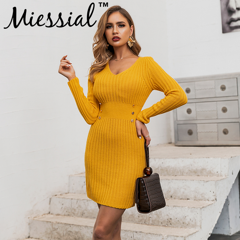 Miessial Knitted yellow v neck warm sweater dress Women long sleeve autumn elegant party dresses Winter bodycon mini sexy dress