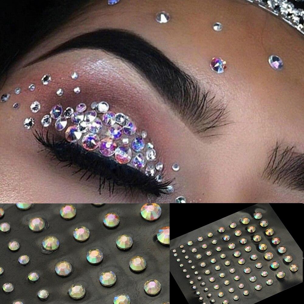 Fashion Women Tattoo Diamond Makeup Eyeliner Eyeshadow Face Sticker Jewel Eyes Makeup Crystal Eyes Sticker