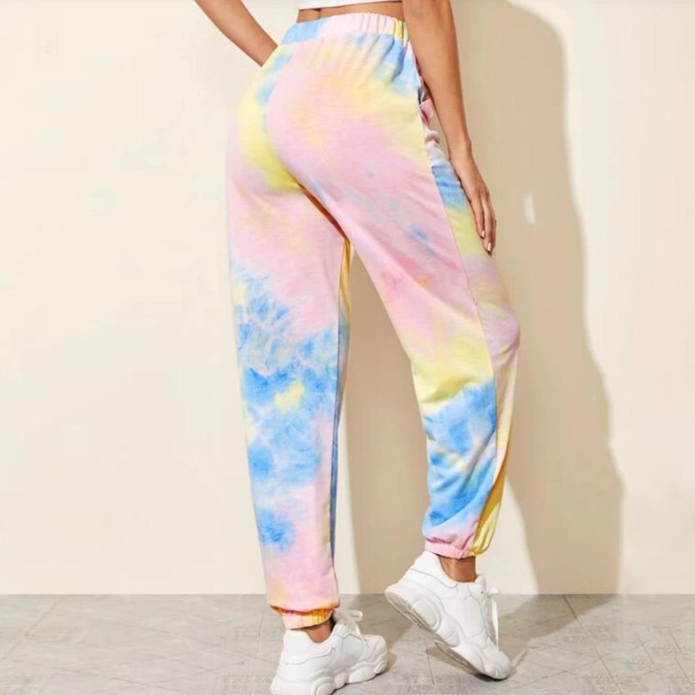 Women Tie-dye Pants Trousers Casual Pockets Long Pants Combat Pants High Quality Capris Hip Hop S-3XL