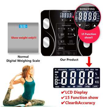 180kg LCD Digital Bathroom Weighing Scale Smart Household Weight Scales Body Fat Scale Body Composition Analyzer