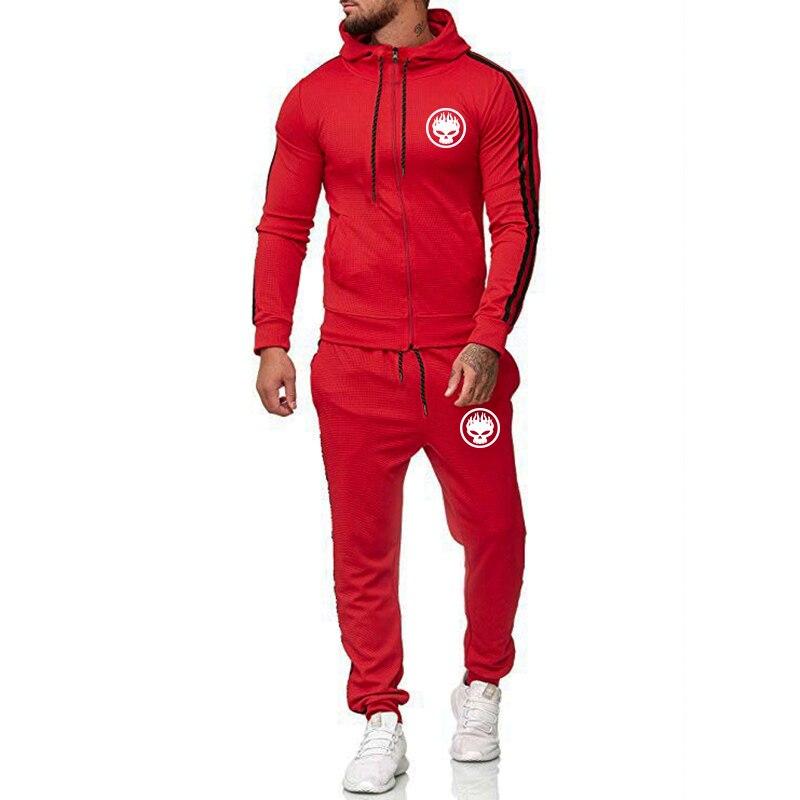 New Skull Tracksuit Men Hoodie Set Hoodies+sweatpants Men Zipper Sweatshirts Autumn Long Sleeves Men Set Fitness Sportswear Set
