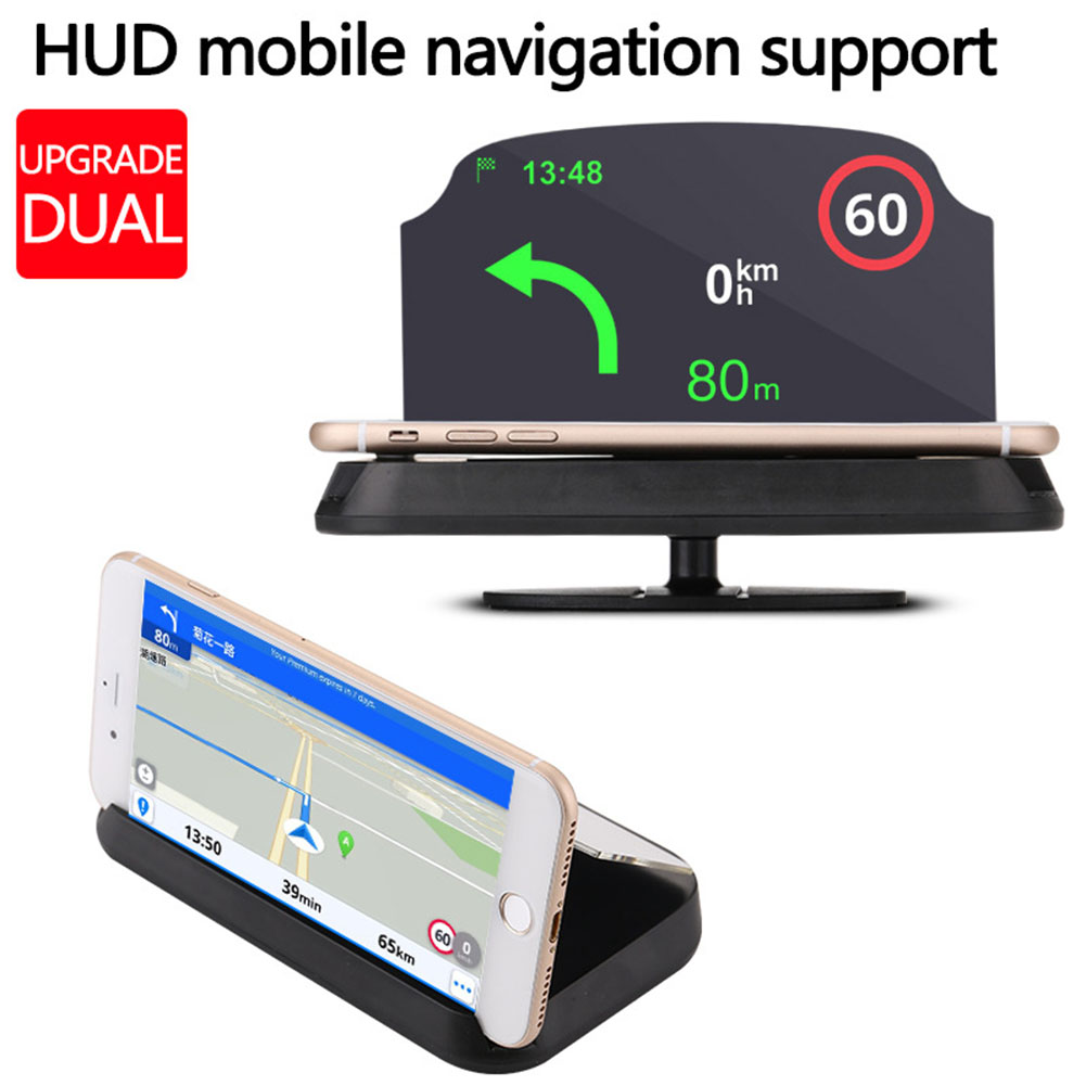 HD Multifunction Head Up Display Smart Phone Holder Driving Clear Speed Warning Universal Car Portable GPS Navigation Projector