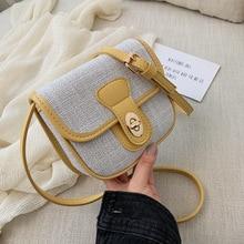 single shoulder small square bag Korean version collision color oblique span pu lint cotton overfire simple woman