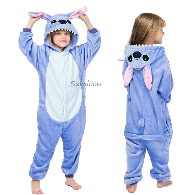 Children Stitch Kigurumi Pajamas Boy Girl Anime Overall Panda Pijama Onesie Kids Baby Costume Winter Animal Sleepwear Cosplay