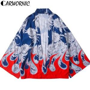 CARWORNIC японское кимоно, уличная одежда, рубашки, Harajuku Fire Flame, с цветочным принтом, тонкая рубашка, повседневная, с длинным рукавом, кардиган, Coa