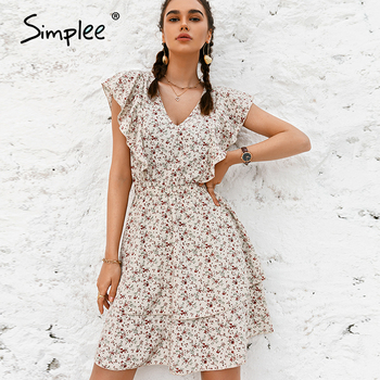 Simplee Beige Sleeveless Floral Dress Casual Ruffled High Waist Female Dress Fashion women's  Holiday style Summer Short Dress 1