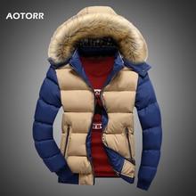 Men Down Jacket Winter New Male Casual Hooded Outwears Coat Warm Fur Parka Overcoat Mens Solid Thick Fleece Zipper Jackets 2020