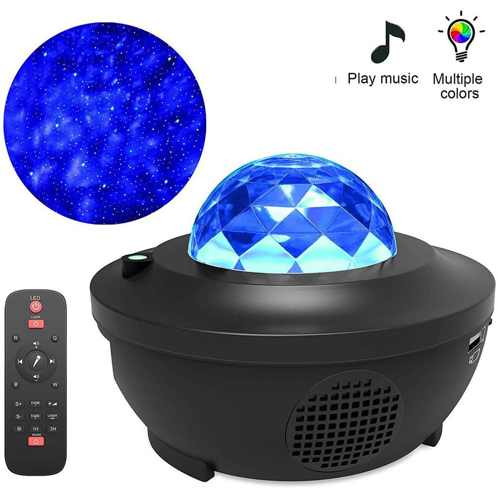 Новый светодиодный проектор Galaxy Ocean Wave, светодиодный ночник, музыкальный проигрыватель с дистанционным управлением, Звездный вращающийся н...