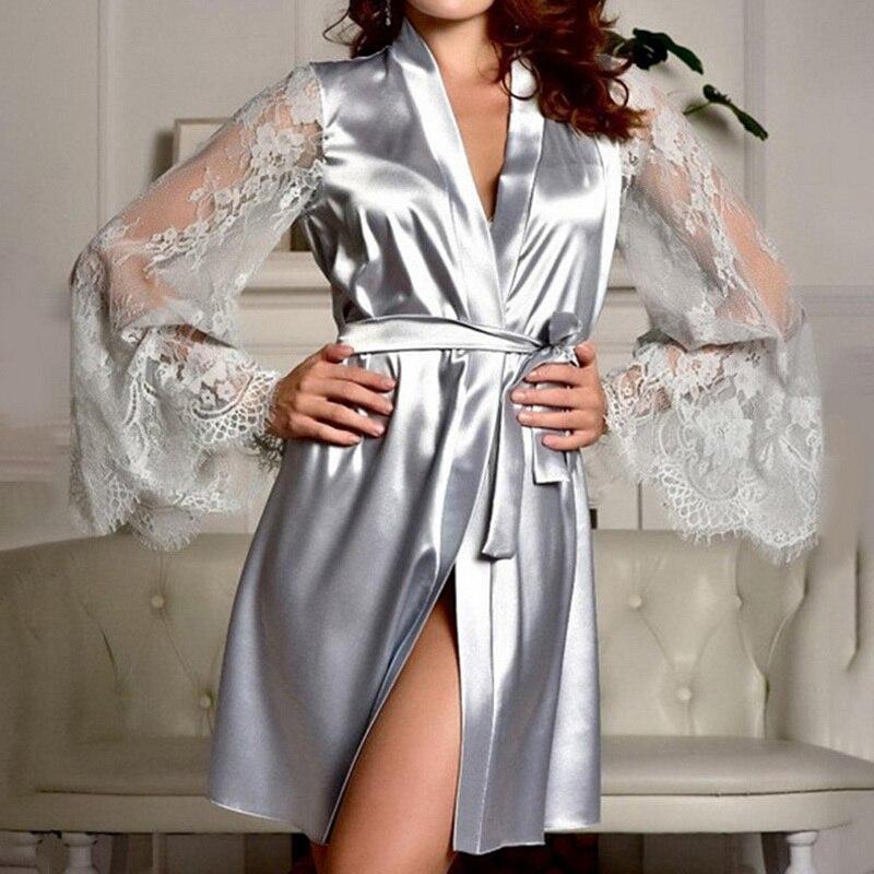 JODIMITTY New Sexy Lingerie Silk Lace Black Kimono Intimate Sleepwear Robe Night Gown Loose Female Bathrobes S-XL