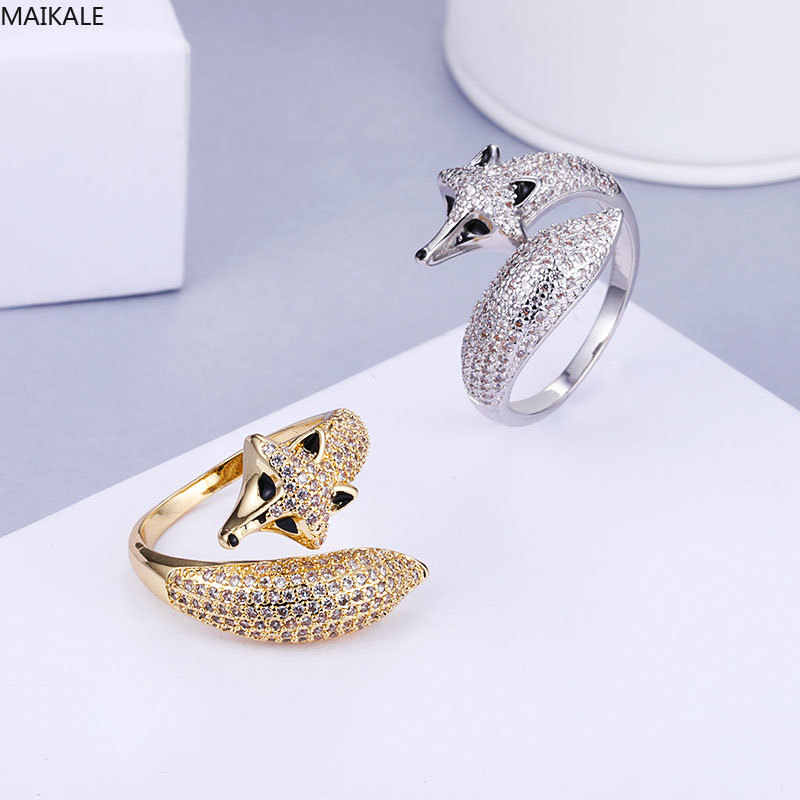 MAIKALE Charm Adjustable Fox Rings for Women Cubic Zirconia Open Ring Gold Silver Color Finger Band Korean Fashion Jewelry Gifts