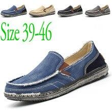 2020 Fashion Brand Canvas Shoes Canvas Men Shoes Loafers Comfort Breathable Slip On Casual Shoes Autumn Flats plus size 39-46