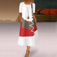 2020 женское богемное платье средней длины в стиле пэчворк, летние вечерние платья с коротким рукавом, женское длинное повседневное пляжное платье с круглым вырезом 4